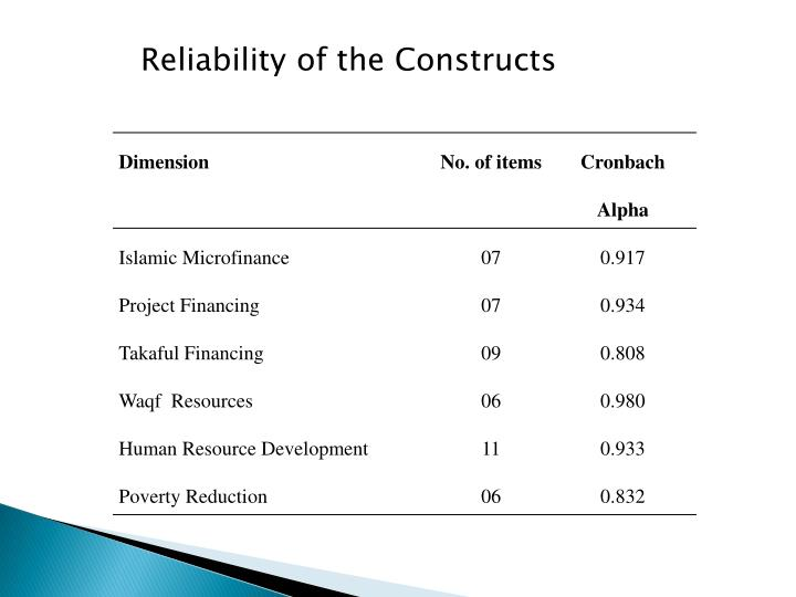 Reliability of the Constructs