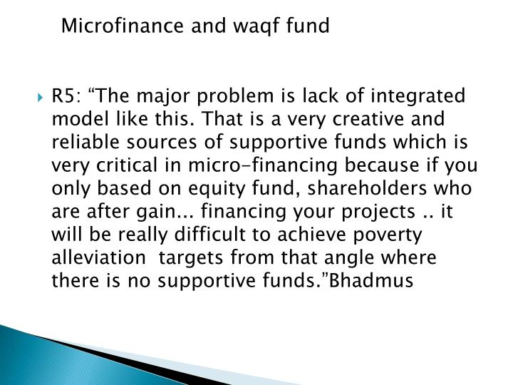 Microfinance and waqf fund