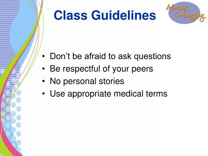 Class guidelines