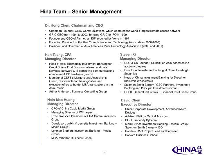 Hina Team – Senior Management