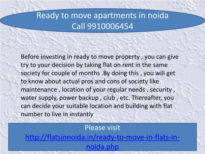 Ready to move apartments in
