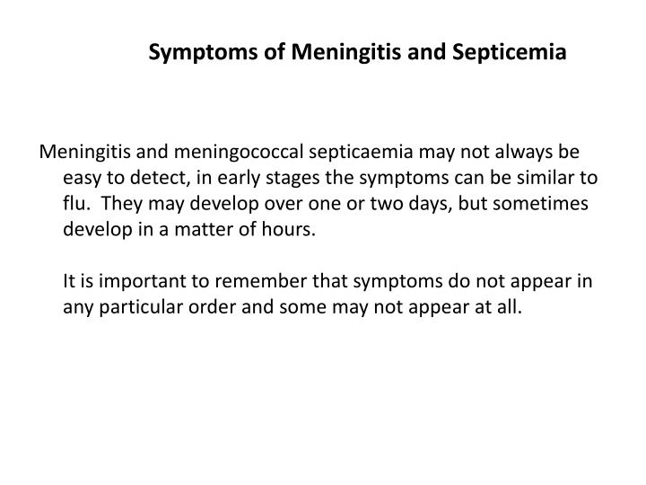 Symptoms of Meningitis and Septicemia