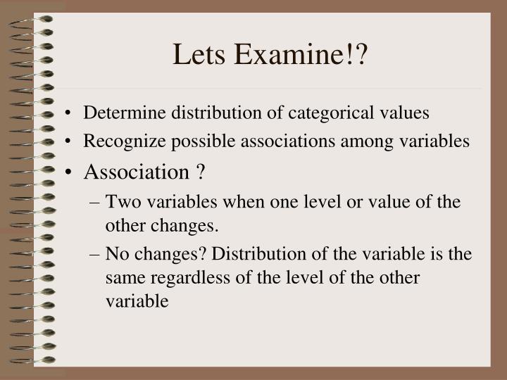 Lets Examine!?