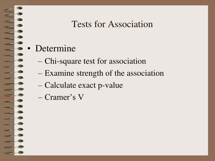 Tests for Association