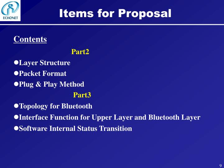 Items for Proposal
