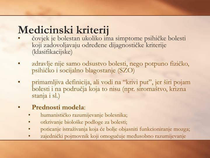 Medicinski kriterij