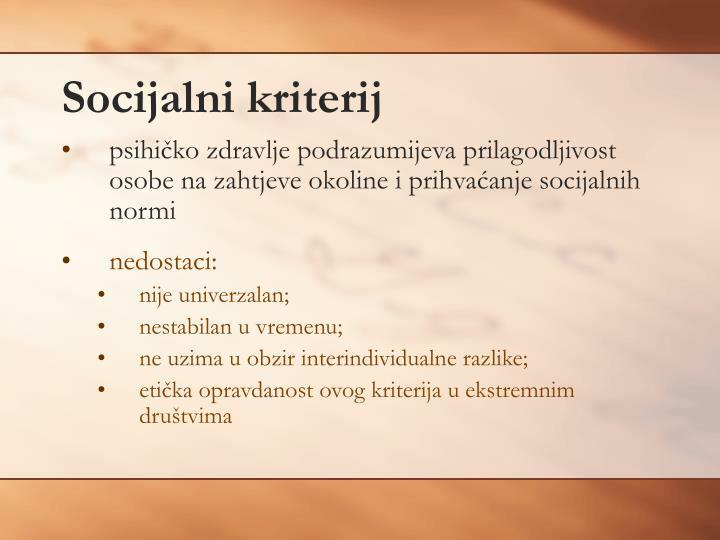 Socijalni kriterij