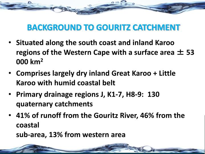 Background to gouritz catchment