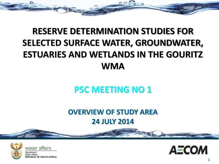 RESERVE DETERMINATION STUDIES FOR SELECTED SURFACE WATER, GROUNDWATER, ESTUARIES AND WETLANDS IN THE...