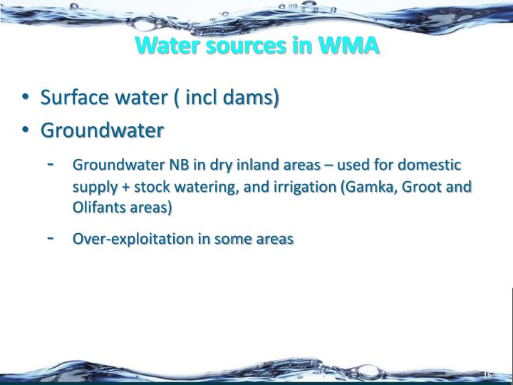 Water sources in WMA