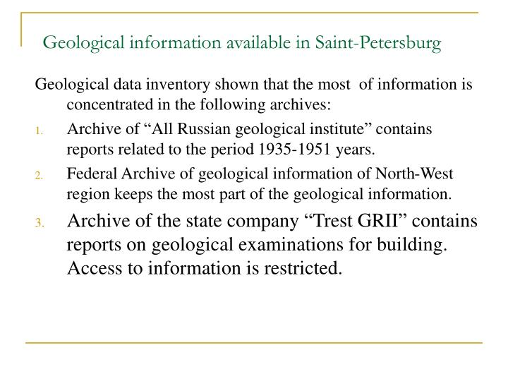 Geological information available in Saint-Petersburg