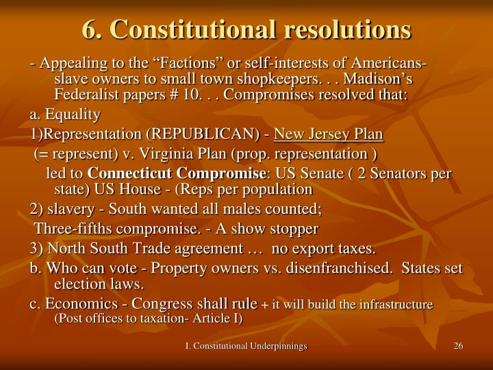6. Constitutional resolutions