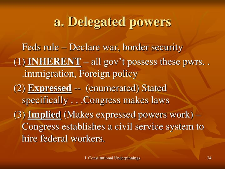a. Delegated powers