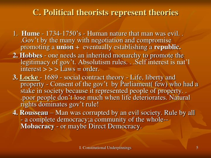 C. Political theorists represent theories