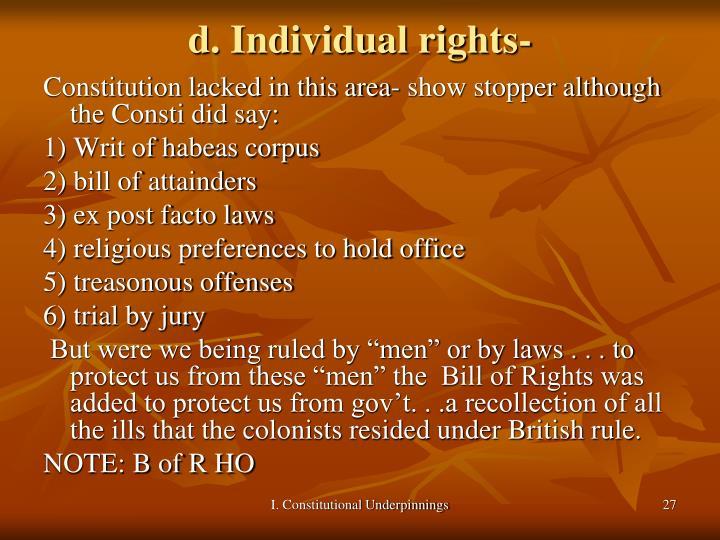 d. Individual rights-