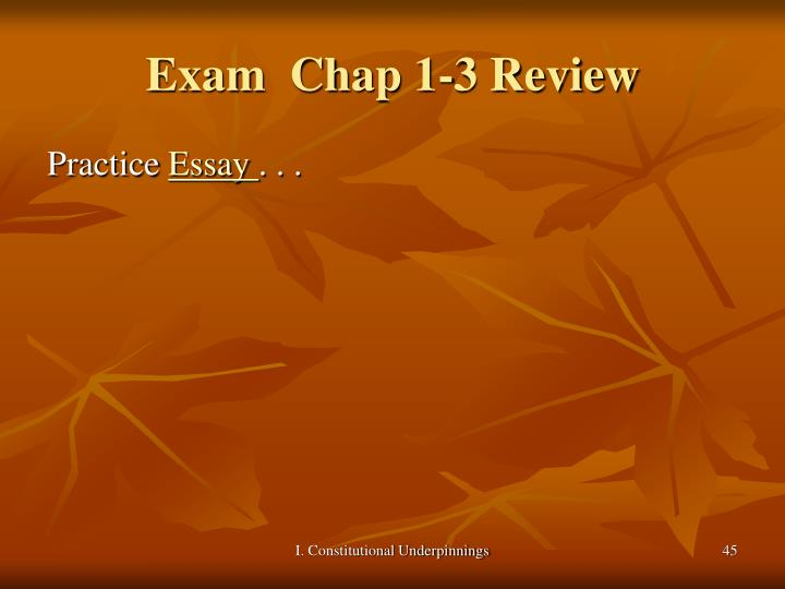 Exam  Chap 1-3 Review