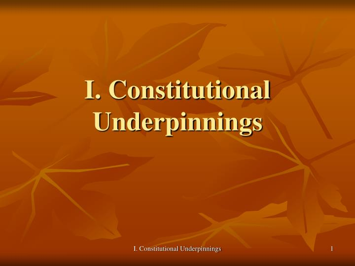 I constitutional underpinnings