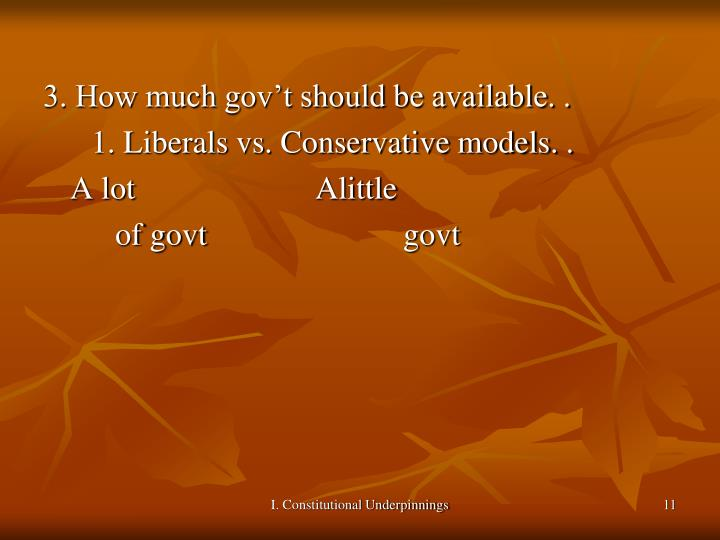 3. How much gov't should be available. .