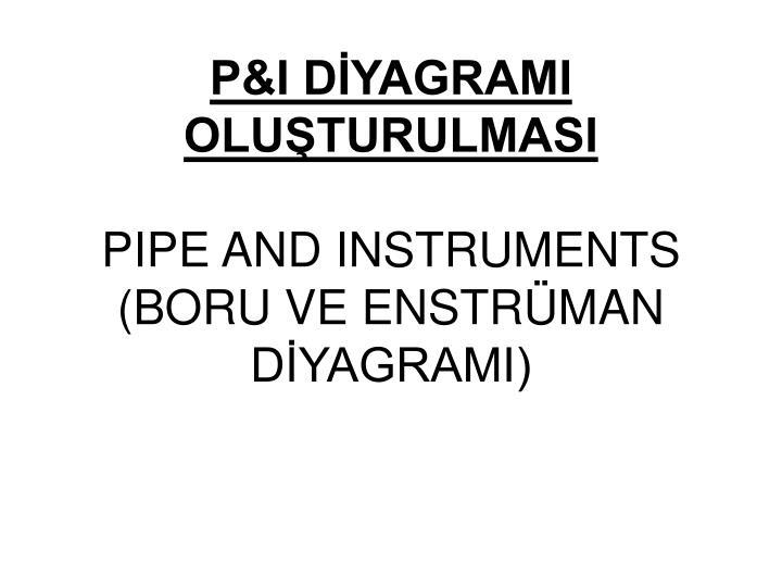 P&I DİYAGRAMI OLUŞTURULMASI