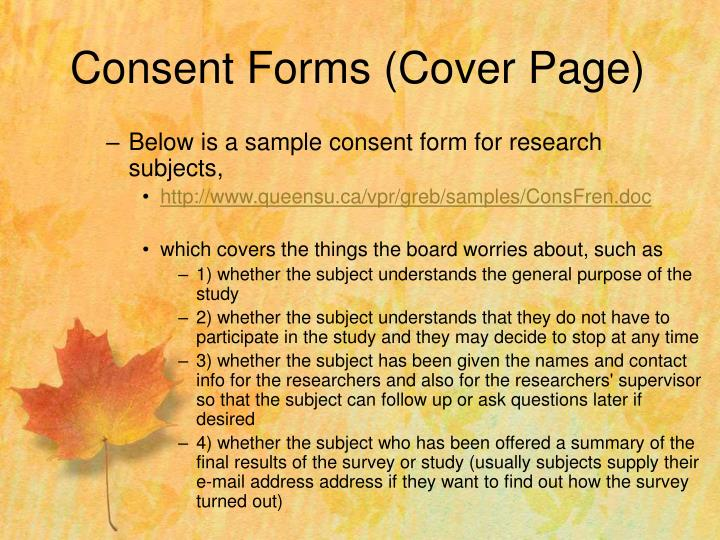 Consent Forms (Cover Page)