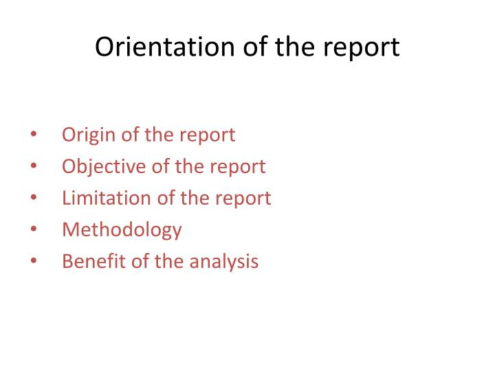 Orientation of the report