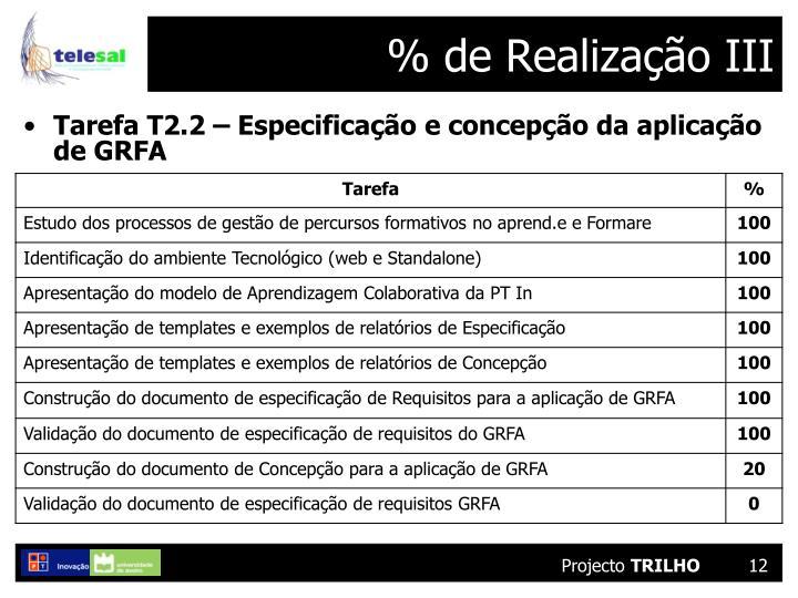 % de Realização III
