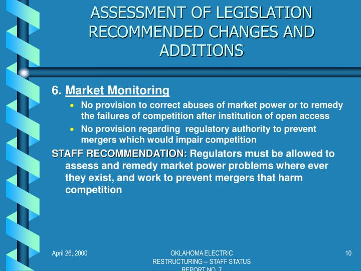 ASSESSMENT OF LEGISLATION