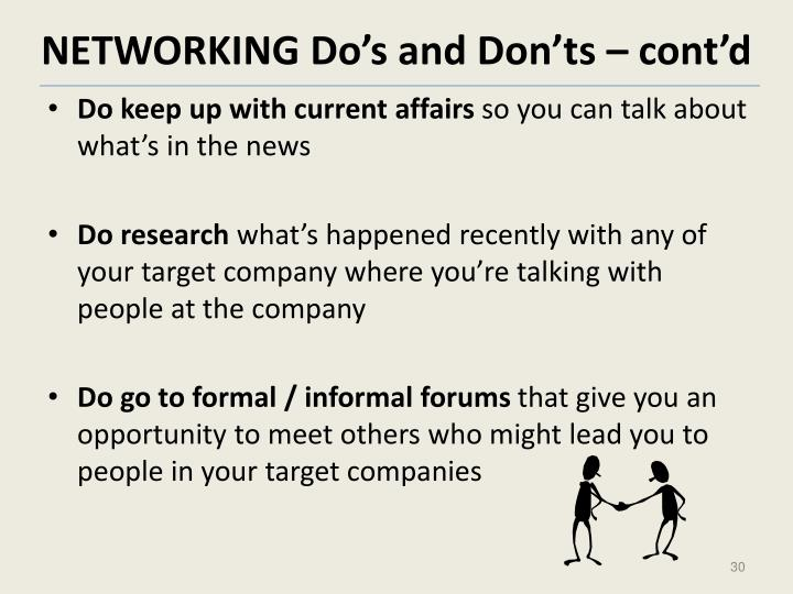 NETWORKING Do's and Don'ts – cont'd