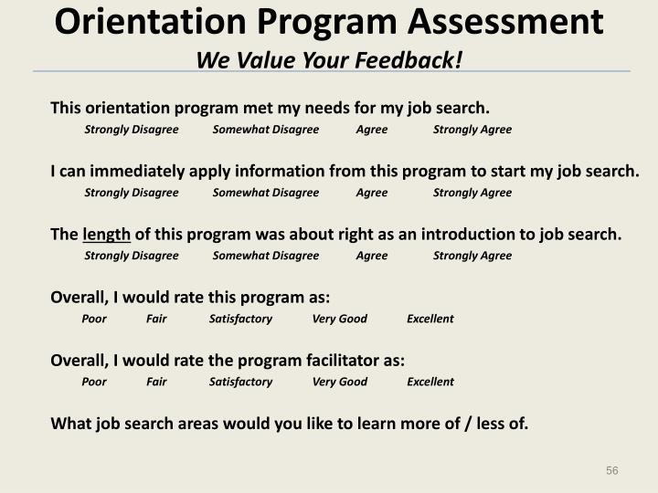 Orientation Program Assessment