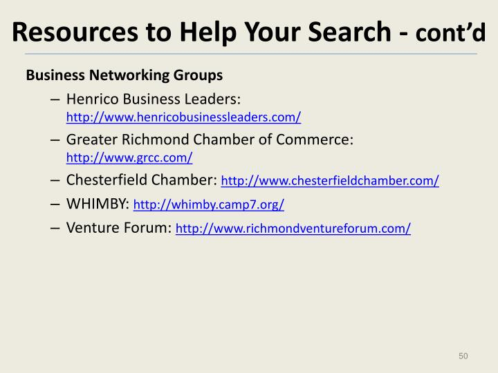 Resources to Help Your Search -