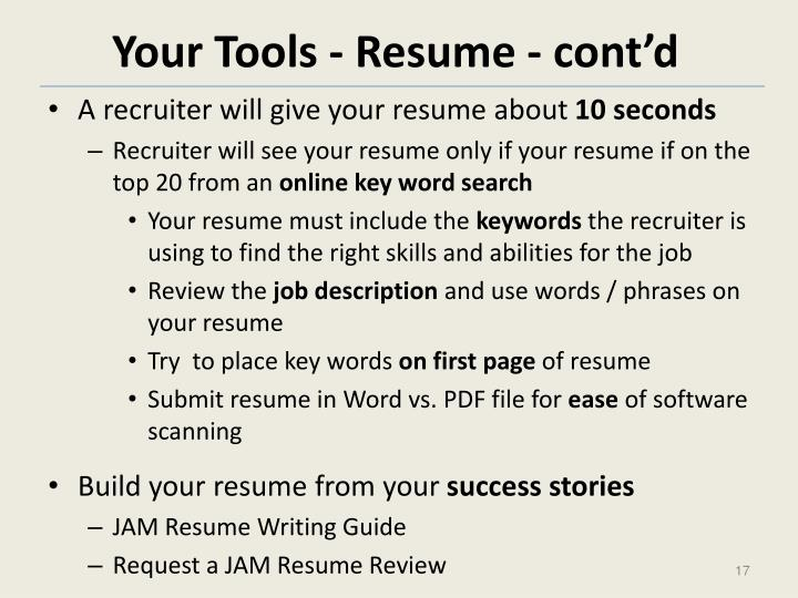 Your Tools - Resume - cont'd