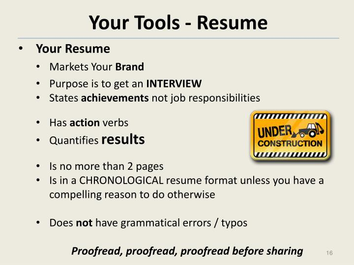 Your Tools - Resume