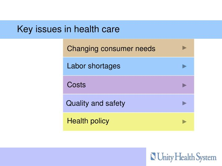 Key issues in health care