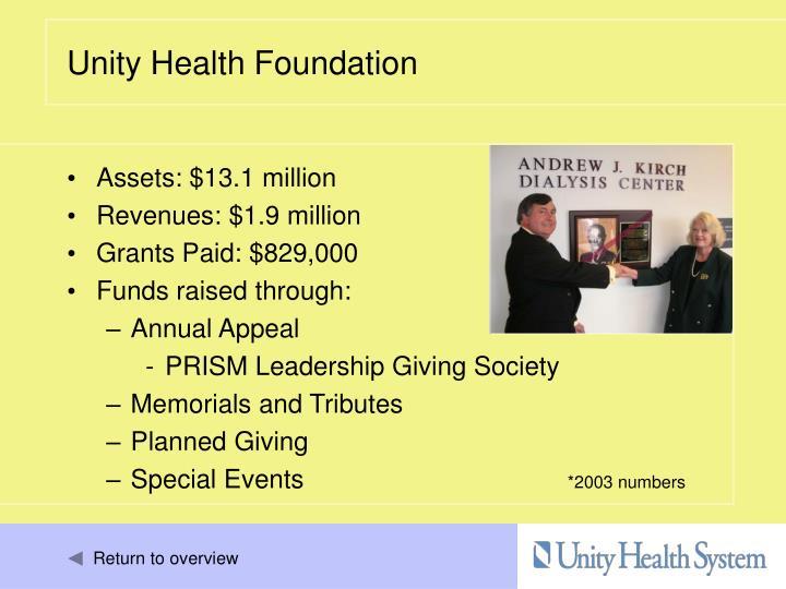 Assets: $13.1 million