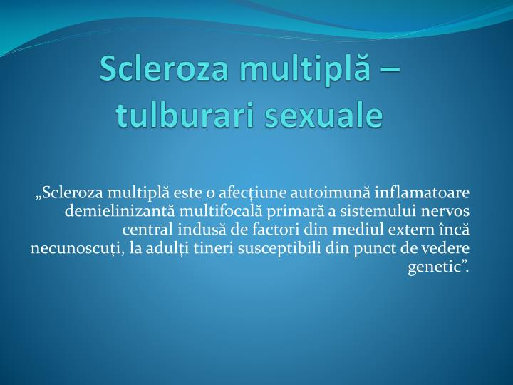 Scleroza multipl tulbura ri sexual e