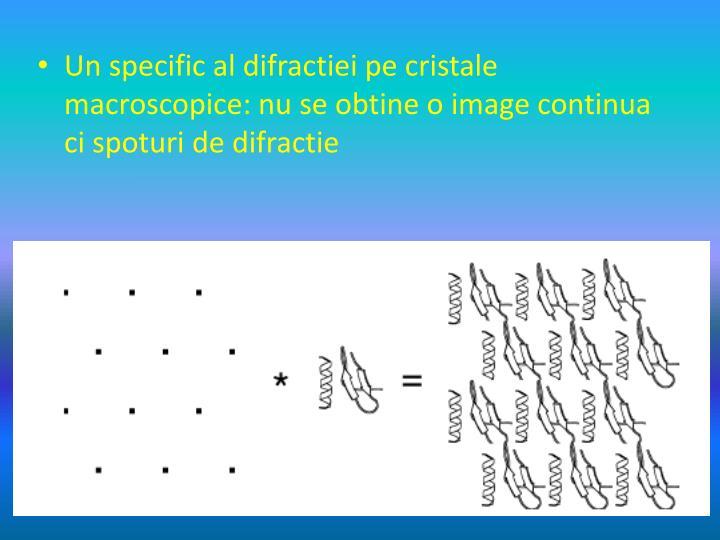 Un specific al difractiei pe cristale macroscopice: nu se obtine o image continua ci spoturi de difractie
