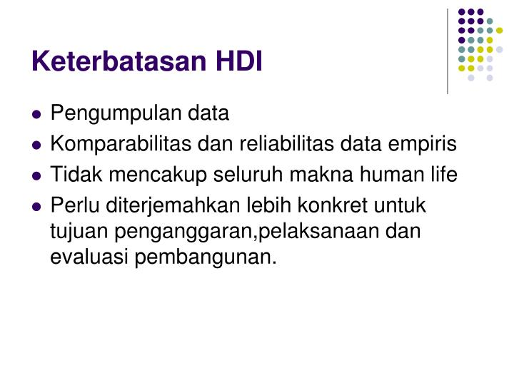 Keterbatasan HDI