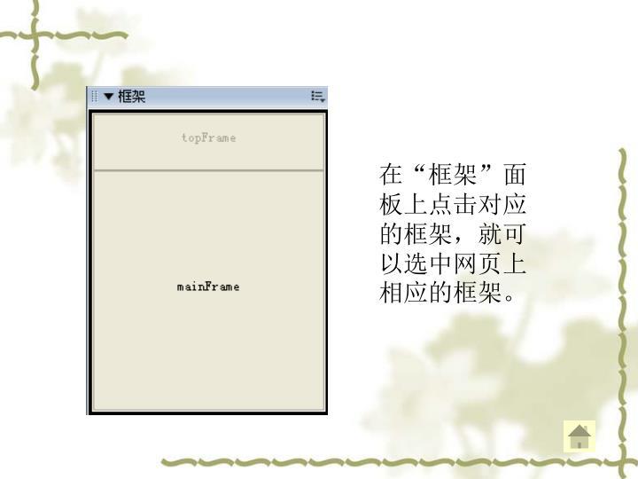 """在""""框架""""面板上点击对应的框架,就可以选中网页上相应的框架。"""