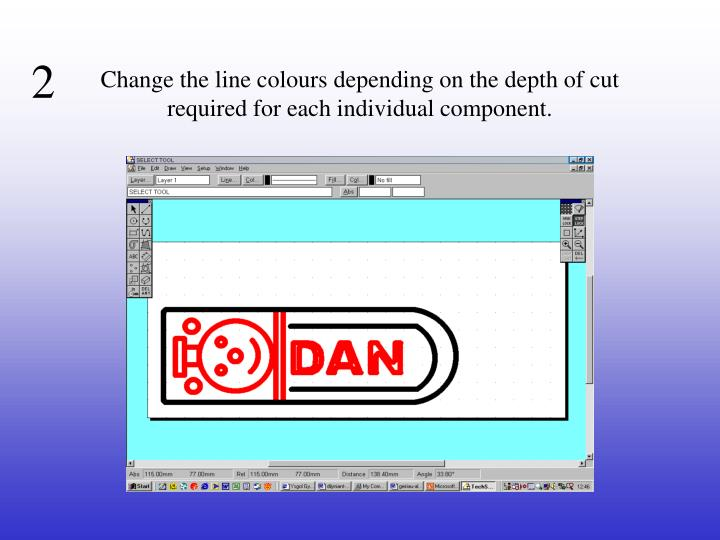 Change the line colours depending on the depth of cut required for each individual component