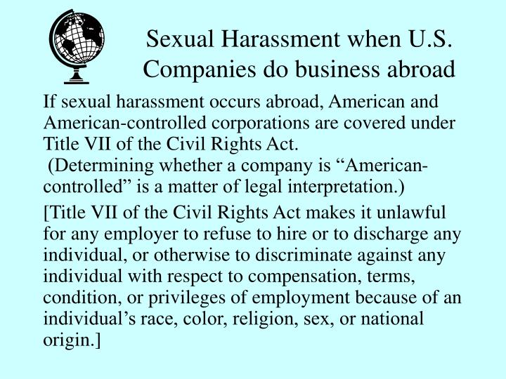 Sexual Harassment when U.S.  Companies do business abroad