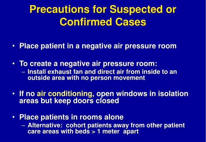 Precautions for Suspected or Confirmed Cases