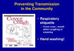 preventing transmission in the community