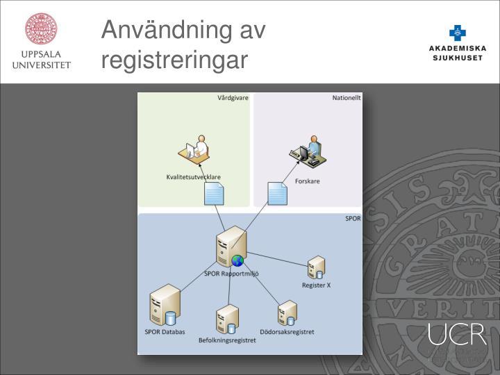 Användning av registreringar