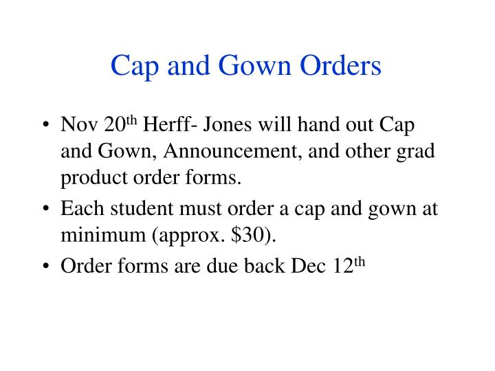 Cap and Gown Orders