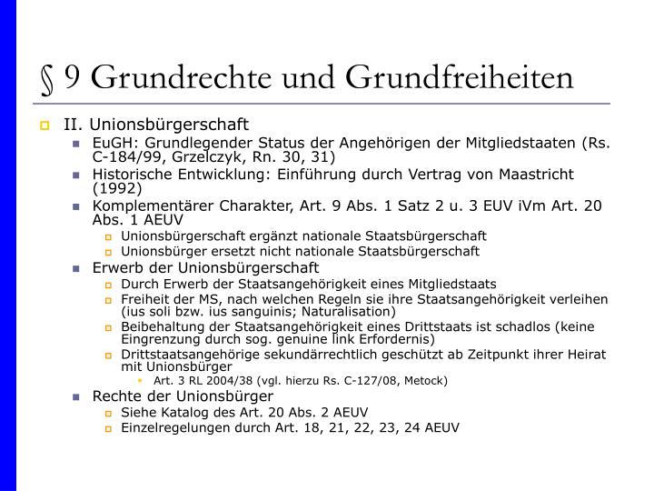 § 9 Grundrechte und Grundfreiheiten