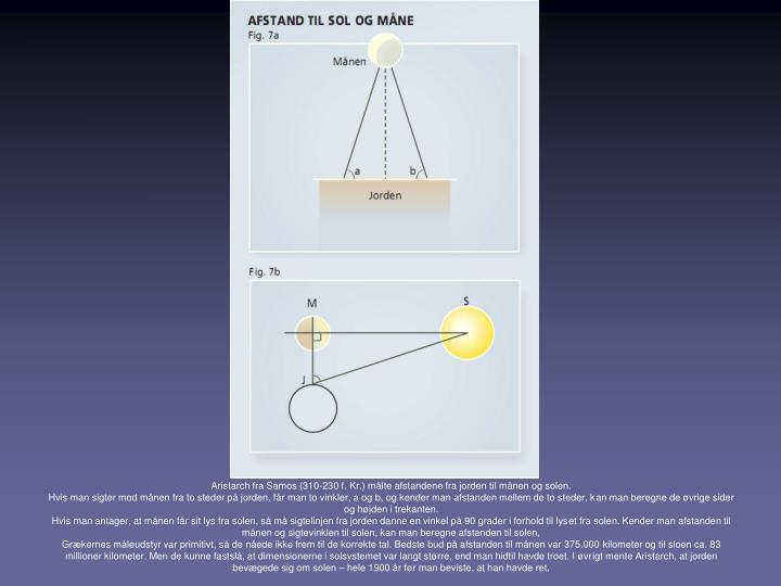 Aristarch fra Samos (310-230 f. Kr.) målte afstandene fra jorden til månen og solen.