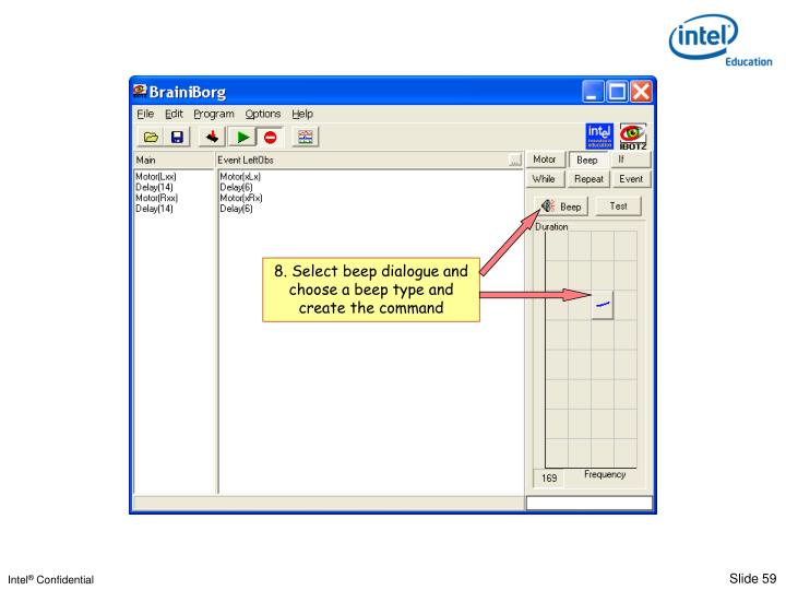 8. Select beep dialogue and choose a beep type and create the command