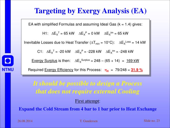 EA with simplified Formulas and assuming Ideal Gas (k = 1.4) gives: