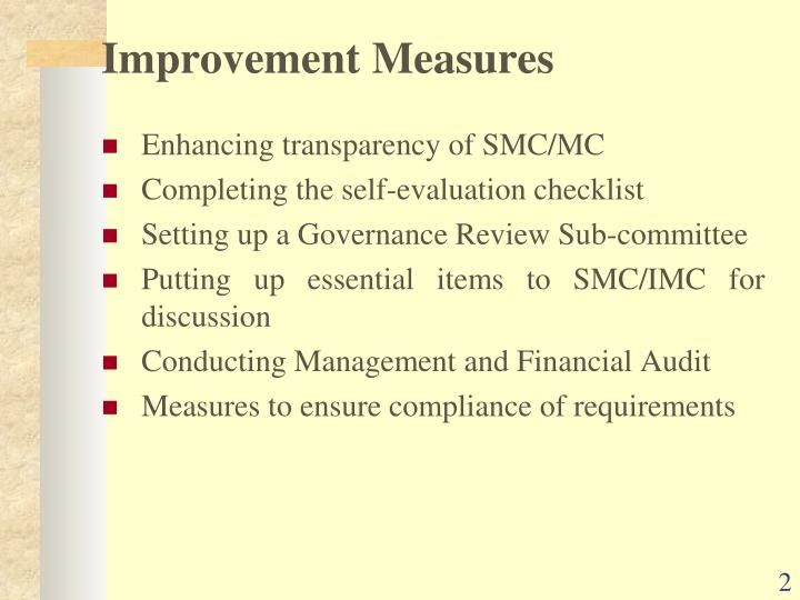 Improvement measures