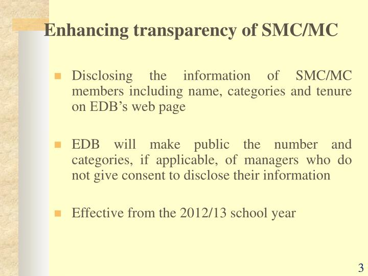 Enhancing transparency of SMC/MC
